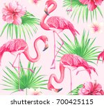 seamless tropical pattern with... | Shutterstock . vector #700425115