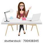 writer home office blogger work ... | Shutterstock .eps vector #700438345
