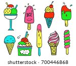 hand drawn set of doodle with... | Shutterstock .eps vector #700446868
