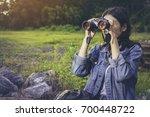 the traveler hipsters beautiful ... | Shutterstock . vector #700448722