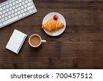 dessert fo light lunch at...   Shutterstock . vector #700457512