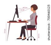 correct sitting position ... | Shutterstock .eps vector #700460125