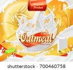 oatmeal. oat grains and milk... | Shutterstock .eps vector #700460758