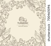 background with turmeric ... | Shutterstock .eps vector #700465096