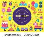 happy birthday greeting card... | Shutterstock .eps vector #700470535