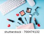 set of makeup cosmetics... | Shutterstock . vector #700474132