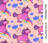 cute pink unicorns. vector... | Shutterstock .eps vector #700483798