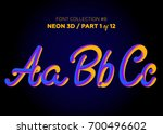 neon 3d typeset with rounded... | Shutterstock .eps vector #700496602