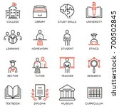 vector set outline icons... | Shutterstock .eps vector #700502845