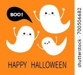 happy halloween. flying ghost... | Shutterstock .eps vector #700506682