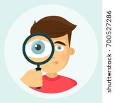 boy with magnifying glass icon... | Shutterstock .eps vector #700527286