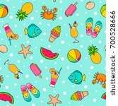 colorful cute cartoon seamless... | Shutterstock .eps vector #700528666