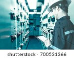 double exposure of  engineer or ... | Shutterstock . vector #700531366