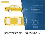 drawing of the car on a blue... | Shutterstock .eps vector #700533232