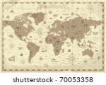 retro styled map of the world... | Shutterstock . vector #70053358