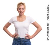 cute young blonde woman with... | Shutterstock . vector #700563382