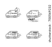 delivery icon set. van service  ... | Shutterstock .eps vector #700569232