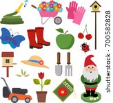 a set of colorful gardening... | Shutterstock .eps vector #700582828