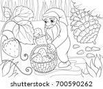 coloring  cartoon  scene. dwarf ...   Shutterstock . vector #700590262