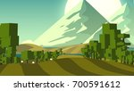 colorful countryside landscape... | Shutterstock . vector #700591612