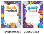 back to school posters with set ...   Shutterstock .eps vector #700599265