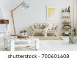 wooden shelf with plants  balls ... | Shutterstock . vector #700601608