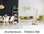 shelf with candles  plants and... | Shutterstock . vector #700601788