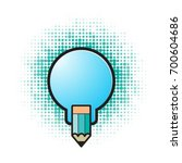blue color bulb with pencil... | Shutterstock .eps vector #700604686