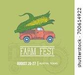 farm fest banner. pickup trick... | Shutterstock .eps vector #700614922
