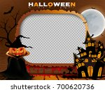retro photo frame for halloween ... | Shutterstock .eps vector #700620736