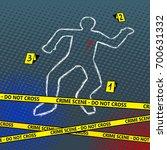 crime scene body chalk outline... | Shutterstock .eps vector #700631332
