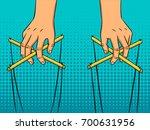 puppeteer hands pop art style... | Shutterstock .eps vector #700631956
