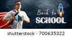 school superhero standing... | Shutterstock . vector #700635322