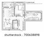 floor plan with furniture in... | Shutterstock .eps vector #700638898