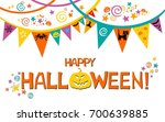 halloween card. vector... | Shutterstock .eps vector #700639885