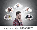 side view of a pensive bearded... | Shutterstock . vector #700660426