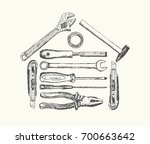 a set of sketch tools for... | Shutterstock .eps vector #700663642