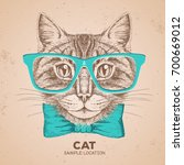 Hipster Animal Cat. Hand...