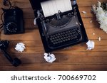 overhead view of typewriter by... | Shutterstock . vector #700669702