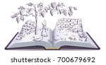 fox and grapes. open book fable ...   Shutterstock . vector #700679692