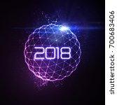 happy new 2018 year. vector... | Shutterstock .eps vector #700683406