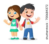 schoolchildren are holding... | Shutterstock .eps vector #700684372