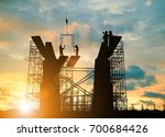 silhouette engineer  look team... | Shutterstock . vector #700684426