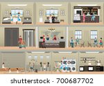 hotel interior set with...   Shutterstock .eps vector #700687702