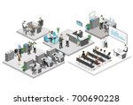 isometric flat 3d abstract... | Shutterstock .eps vector #700690228