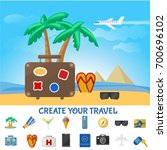 colorful summer travel... | Shutterstock .eps vector #700696102