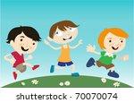 kids running vector | Shutterstock .eps vector #70070074