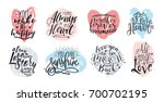 Stock vector hand drawn lettering set with romantic phrases about love vector inscriptions collection on white 700702195