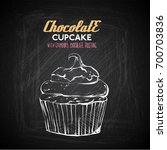 hand draw of tasty cupcake on a ... | Shutterstock .eps vector #700703836