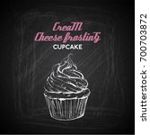 hand draw of tasty cupcake on a ... | Shutterstock .eps vector #700703872